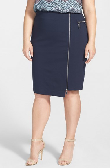 Asymmetrical Zip Skirt (Plus Size) - pattern: plain; style: pencil; fit: tailored/fitted; waist: mid/regular rise; predominant colour: navy; secondary colour: silver; occasions: casual, work, creative work; length: on the knee; pattern type: fabric; texture group: woven light midweight; fibres: viscose/rayon - mix; embellishment: zips; season: a/w 2014; wardrobe: highlight; embellishment location: hip, waist