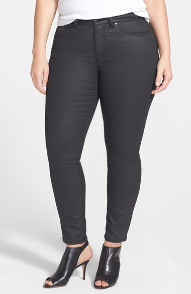 Waxed Skinny Jeans (Black) (Plus Size) - style: skinny leg; length: standard; pattern: plain; pocket detail: traditional 5 pocket; waist: mid/regular rise; predominant colour: black; occasions: casual, evening, creative work; fibres: cotton - mix; texture group: waxed cotton; pattern type: fabric; season: a/w 2014