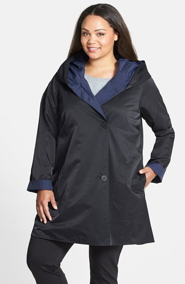 Reversible Hooded Coat (Plus Size) - style: single breasted; back detail: hood; collar: high neck; length: mid thigh; secondary colour: royal blue; predominant colour: navy; occasions: casual; fit: straight cut (boxy); fibres: cotton - mix; sleeve length: long sleeve; sleeve style: standard; texture group: technical outdoor fabrics; collar break: high; pattern type: fabric; pattern size: light/subtle; pattern: colourblock; season: a/w 2014