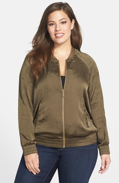 Studded Bomber Jacket (Plus Size) - pattern: plain; collar: round collar/collarless; hip detail: fitted at hip; style: bomber; predominant colour: khaki; secondary colour: khaki; occasions: casual, creative work; length: standard; fit: straight cut (boxy); fibres: polyester/polyamide - 100%; sleeve length: long sleeve; sleeve style: standard; texture group: structured shiny - satin/tafetta/silk etc.; collar break: high; pattern type: fabric; trends: outerwear chic; season: a/w 2014