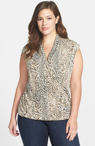 'swirling Cheetah' Faux Wrap Top (Plus Size) - neckline: low v-neck; sleeve style: sleeveless; secondary colour: ivory/cream; predominant colour: chocolate brown; occasions: casual, creative work; length: standard; style: top; fibres: polyester/polyamide - stretch; fit: body skimming; sleeve length: sleeveless; texture group: crepes; pattern type: fabric; pattern size: standard; pattern: animal print; season: a/w 2014