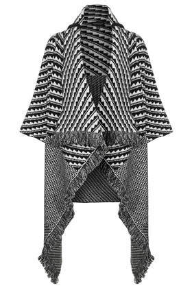 Pattern Blanket Coat - collar: shawl/waterfall; fit: loose; style: poncho/blanket; length: mid thigh; secondary colour: white; predominant colour: black; occasions: casual, creative work; fibres: acrylic - mix; sleeve length: 3/4 length; sleeve style: standard; texture group: knits/crochet; collar break: low/open; pattern type: knitted - other; pattern size: standard; pattern: patterned/print; trends: outerwear chic; season: a/w 2014