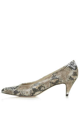 Joan Snake Kitten Heels - occasions: casual, evening, work; predominant colour: multicoloured; material: leather; heel height: mid; heel: kitten; toe: pointed toe; style: courts; finish: plain; pattern: animal print; season: a/w 2014; multicoloured: multicoloured