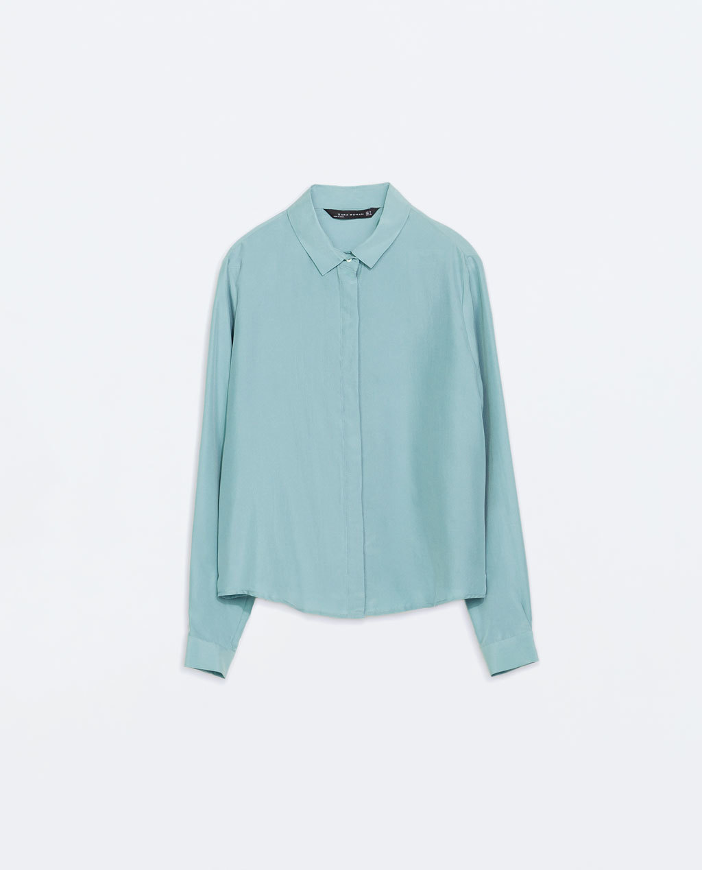 Silk Blousen With Shirt Collar - neckline: shirt collar/peter pan/zip with opening; pattern: plain; style: shirt; predominant colour: pale blue; occasions: casual, work, creative work; length: standard; fibres: silk - 100%; fit: straight cut; sleeve length: long sleeve; sleeve style: standard; texture group: silky - light; pattern type: fabric; season: a/w 2014