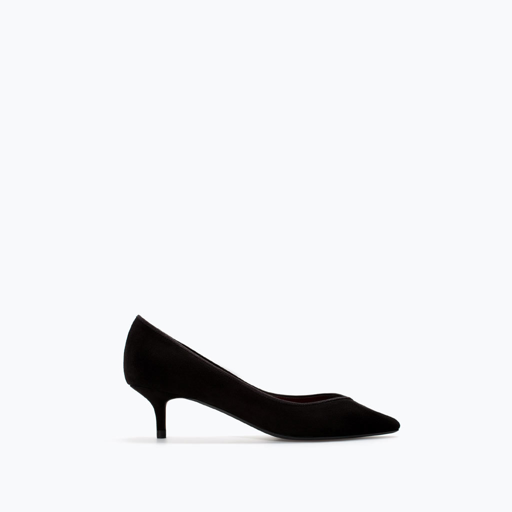 Kitten Heel Court Shoe - predominant colour: black; occasions: casual, evening, work, occasion; material: faux leather; heel height: mid; heel: kitten; toe: pointed toe; style: courts; finish: plain; pattern: plain; season: a/w 2014
