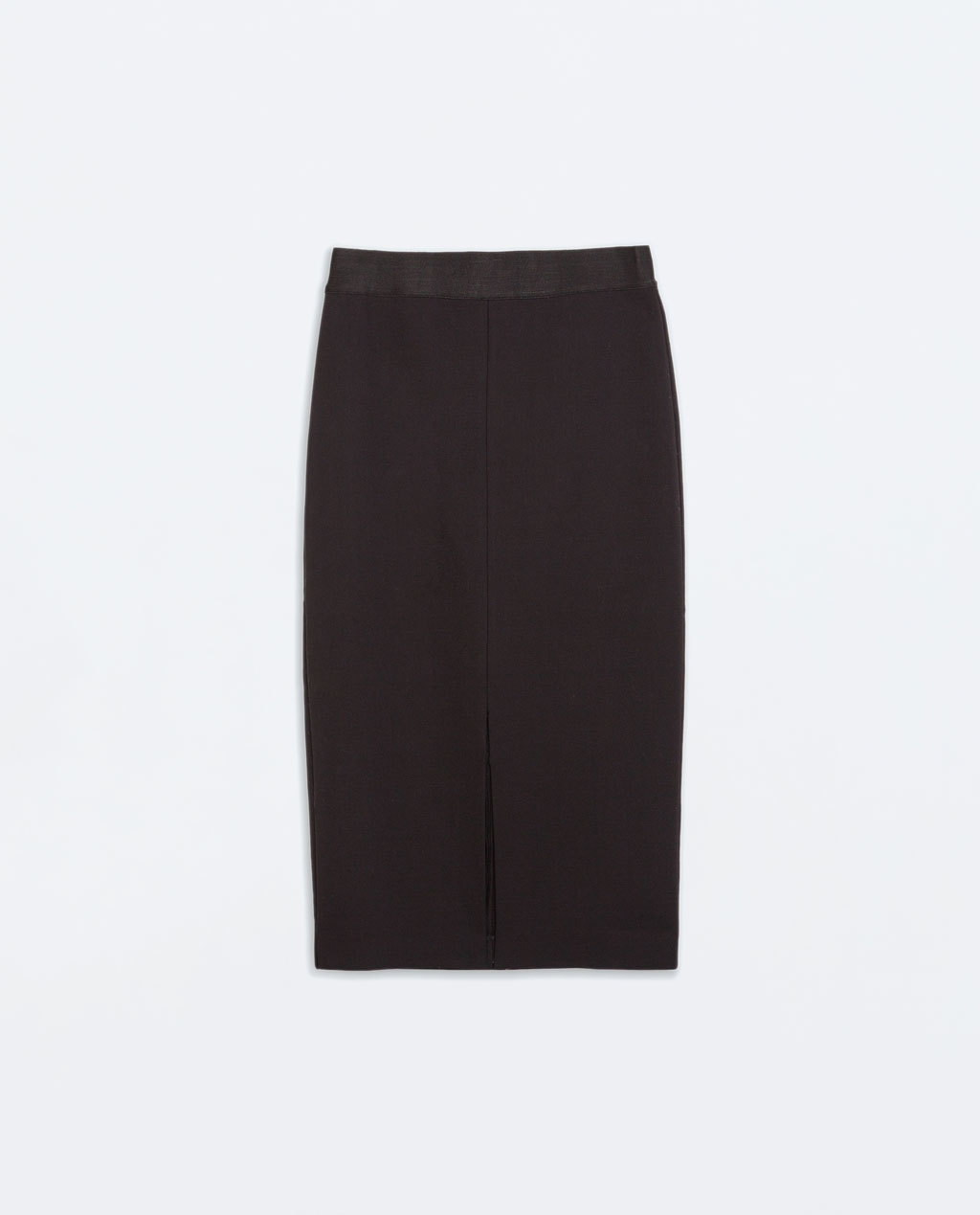 Fitted Skirt With Elastic Waist - length: below the knee; pattern: plain; style: pencil; fit: tailored/fitted; waist detail: elasticated waist; waist: high rise; predominant colour: black; occasions: casual, work, creative work; fibres: polyester/polyamide - 100%; pattern type: fabric; texture group: woven light midweight; season: a/w 2014; wardrobe: basic