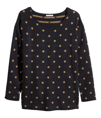 + Fine Knit Jumper - neckline: round neck; pattern: polka dot; style: standard; predominant colour: navy; secondary colour: camel; occasions: casual, creative work; length: standard; fibres: polyester/polyamide - mix; fit: standard fit; sleeve length: long sleeve; sleeve style: standard; texture group: knits/crochet; pattern type: knitted - fine stitch; pattern size: standard; season: a/w 2014