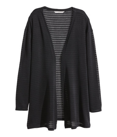 + Fine Knit Cardigan - pattern: horizontal stripes; length: below the bottom; neckline: collarless open; style: open front; predominant colour: black; secondary colour: black; occasions: casual, creative work; fibres: polyester/polyamide - 100%; fit: loose; sleeve length: long sleeve; sleeve style: standard; texture group: knits/crochet; pattern type: knitted - other; pattern size: light/subtle; trends: statement knits; season: a/w 2014