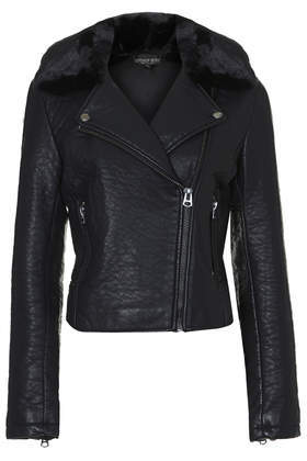 Petite Faux Leather Biker Jacket - pattern: plain; style: biker; collar: asymmetric biker; predominant colour: black; occasions: casual; length: standard; fit: tailored/fitted; sleeve length: long sleeve; sleeve style: standard; texture group: leather; collar break: medium; pattern type: fabric; embellishment: fur; fibres: pvc/polyurethene - 100%; season: a/w 2014; wardrobe: basic; embellishment location: neck