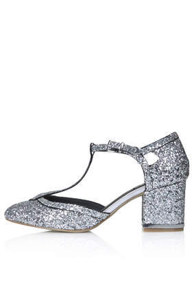 Joyful Glitter T Bar Heels - predominant colour: silver; occasions: evening, occasion; material: faux leather; heel height: mid; embellishment: glitter; heel: block; toe: round toe; style: t-bar; finish: metallic; pattern: plain; season: a/w 2014