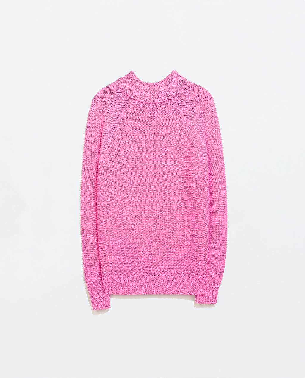 Knit Sweater - pattern: plain; neckline: high neck; length: below the bottom; style: standard; predominant colour: pink; occasions: casual, creative work; fibres: cotton - mix; fit: standard fit; sleeve length: long sleeve; sleeve style: standard; texture group: knits/crochet; pattern type: fabric; trends: statement knits; season: a/w 2014