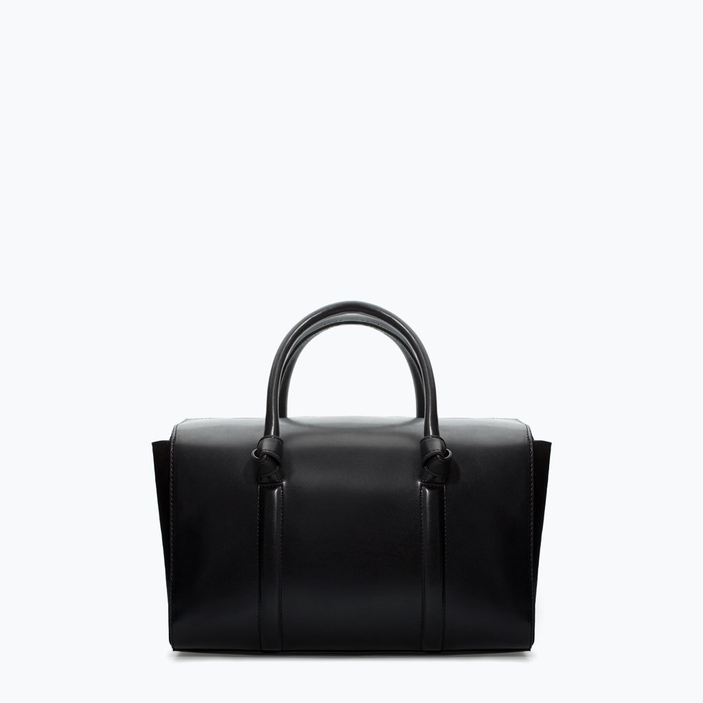 Bowling Bag With Knots - predominant colour: black; occasions: casual, work, creative work; style: bowling; length: handle; size: standard; material: faux leather; pattern: plain; finish: plain; season: a/w 2014