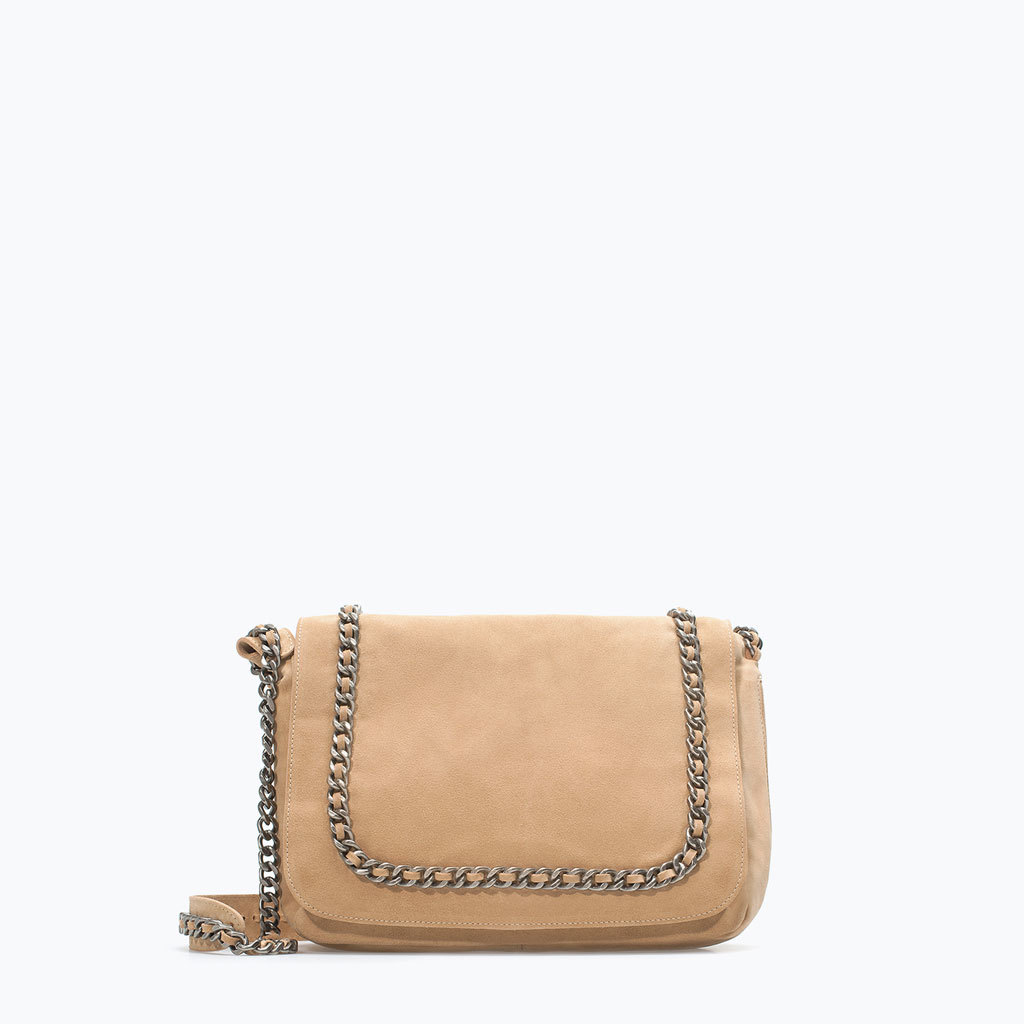 Leather Messenger Bag With Chain - predominant colour: camel; occasions: casual, creative work; style: messenger; length: across body/long; size: standard; material: leather; pattern: plain; finish: plain; embellishment: chain/metal; season: a/w 2014