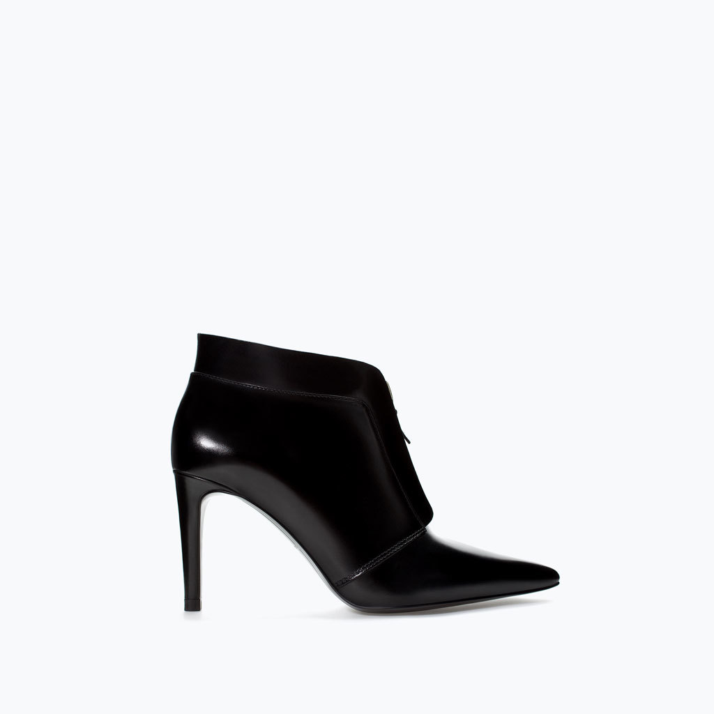 Leather Ankle Boot With Zip - predominant colour: black; material: leather; heel height: high; heel: stiletto; toe: pointed toe; boot length: ankle boot; style: standard; finish: patent; pattern: plain; occasions: creative work; season: a/w 2014