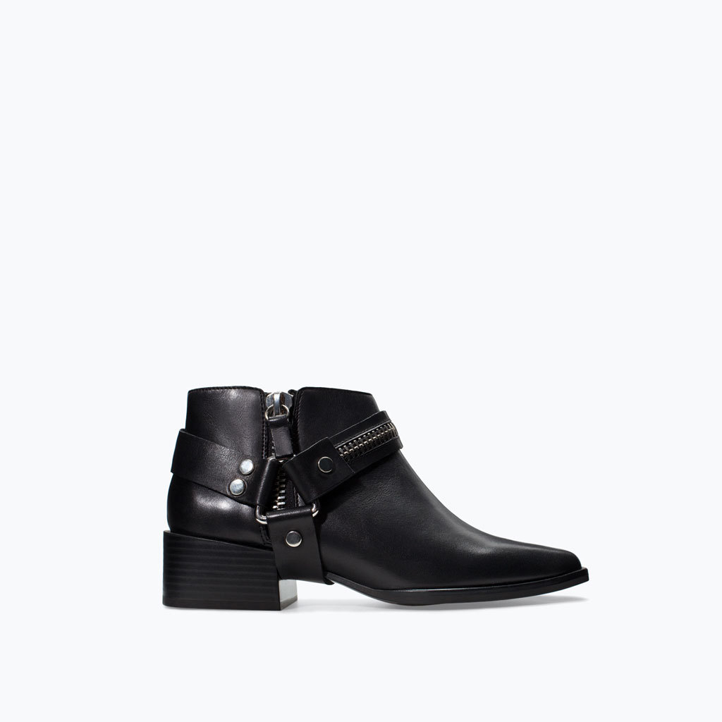 Leather Bootie With Zip And Buckles - predominant colour: black; occasions: casual, creative work; material: leather; heel height: mid; heel: block; toe: square toe; boot length: ankle boot; style: standard; finish: plain; pattern: plain; season: a/w 2014