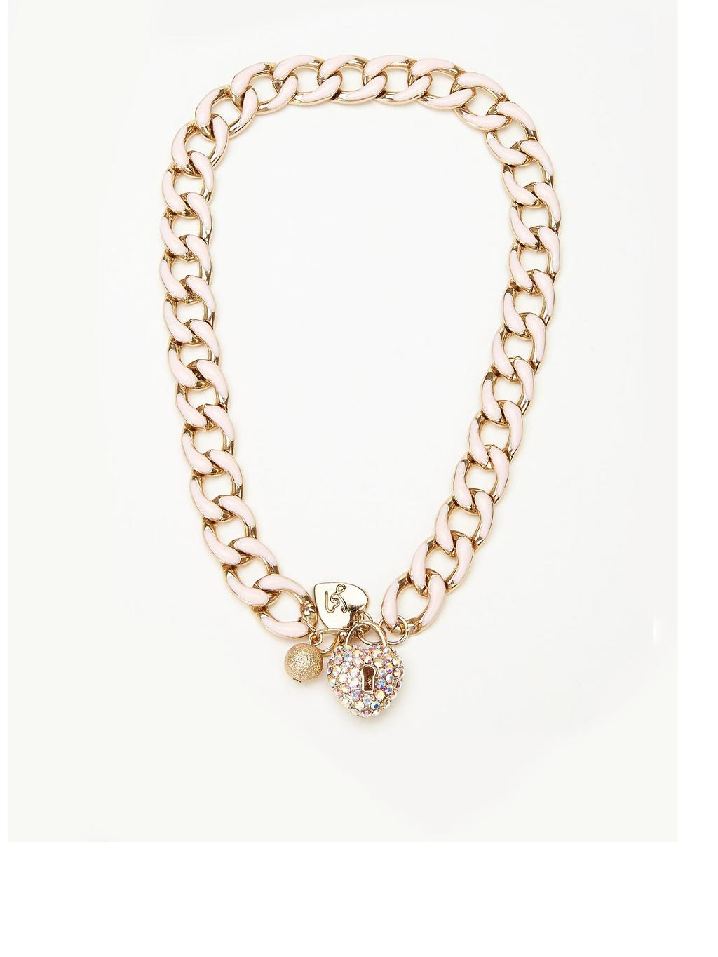Padlock Chain Necklace, Pink - predominant colour: gold; occasions: evening, occasion; length: mid; size: large/oversized; material: chain/metal; finish: metallic; embellishment: chain/metal; season: a/w 2014; style: chain (no pendant)