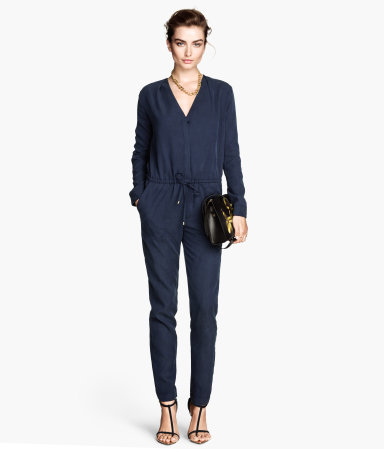 Jumpsuit In A Lyocell Mix - length: standard; neckline: low v-neck; fit: fitted at waist; pattern: plain; waist detail: belted waist/tie at waist/drawstring; predominant colour: navy; occasions: casual, evening, creative work; fibres: polyester/polyamide - mix; sleeve length: long sleeve; sleeve style: standard; style: jumpsuit; pattern type: fabric; texture group: other - light to midweight; season: a/w 2014