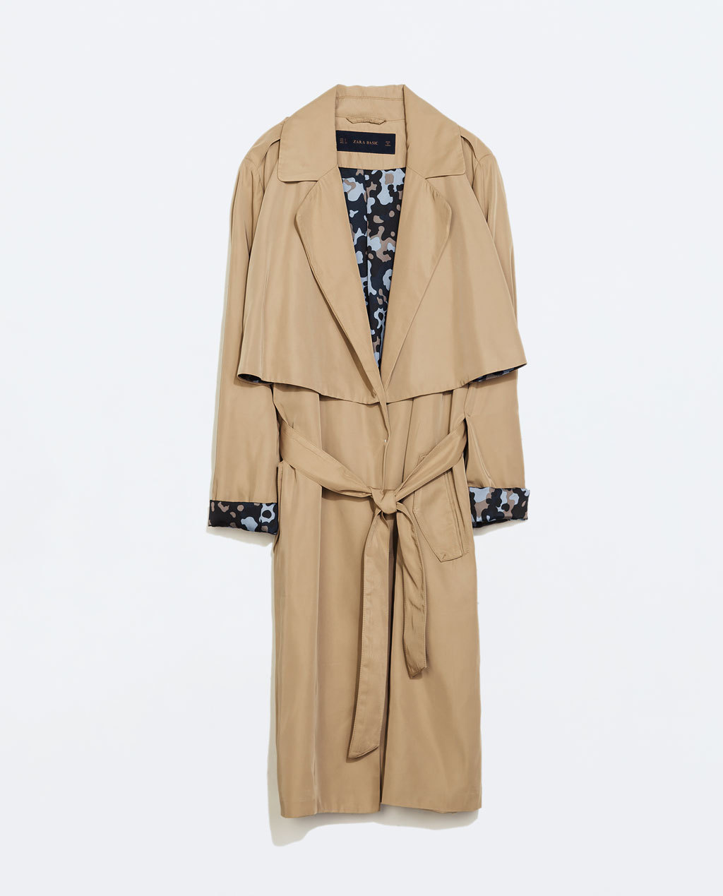 Flowy Trenchcoat With Camouflage Lining - pattern: plain; style: trench coat; collar: standard lapel/rever collar; length: mid thigh; predominant colour: stone; occasions: casual, work; fit: tailored/fitted; fibres: polyester/polyamide - 100%; waist detail: belted waist/tie at waist/drawstring; back detail: back vent/flap at back; sleeve length: long sleeve; sleeve style: standard; collar break: low/open; pattern type: fabric; texture group: woven light midweight; season: a/w 2014