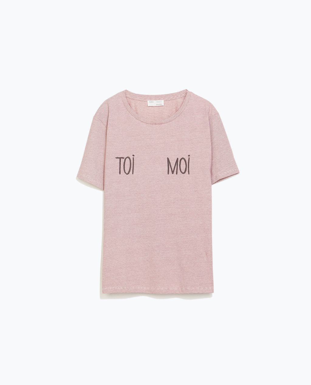 Text T Shirt - neckline: round neck; pattern: plain; style: t-shirt; predominant colour: blush; occasions: casual; length: standard; fibres: cotton - 100%; fit: straight cut; sleeve length: short sleeve; sleeve style: standard; pattern type: fabric; texture group: jersey - stretchy/drapey; season: a/w 2014