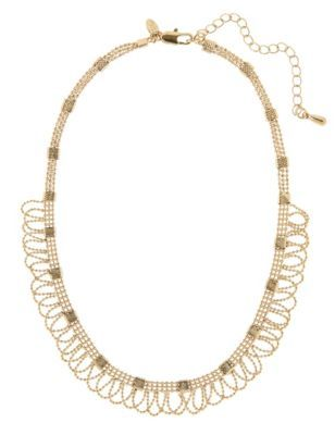 Gold Plated Lace Ball Chain Collar Necklace - predominant colour: gold; occasions: occasion; length: short; size: standard; material: chain/metal; finish: metallic; embellishment: chain/metal; style: bib/statement; season: a/w 2014