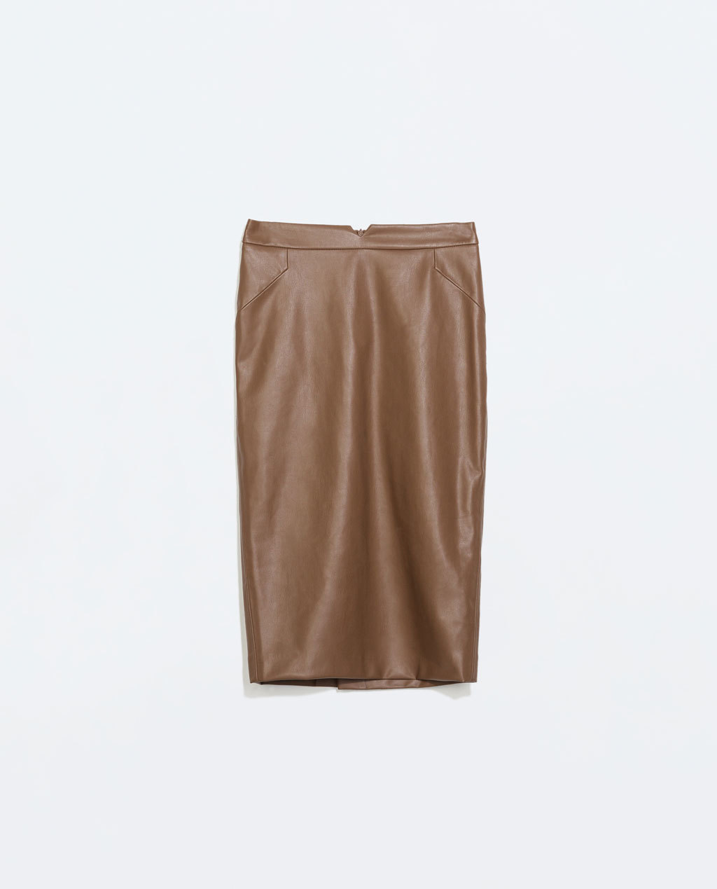 Faux Leather Skirt - pattern: plain; style: pencil; fit: tailored/fitted; waist: mid/regular rise; predominant colour: camel; occasions: casual, evening, creative work; length: on the knee; waist detail: feature waist detail; texture group: leather; pattern type: fabric; fibres: pvc/polyurethene - 100%; season: a/w 2014