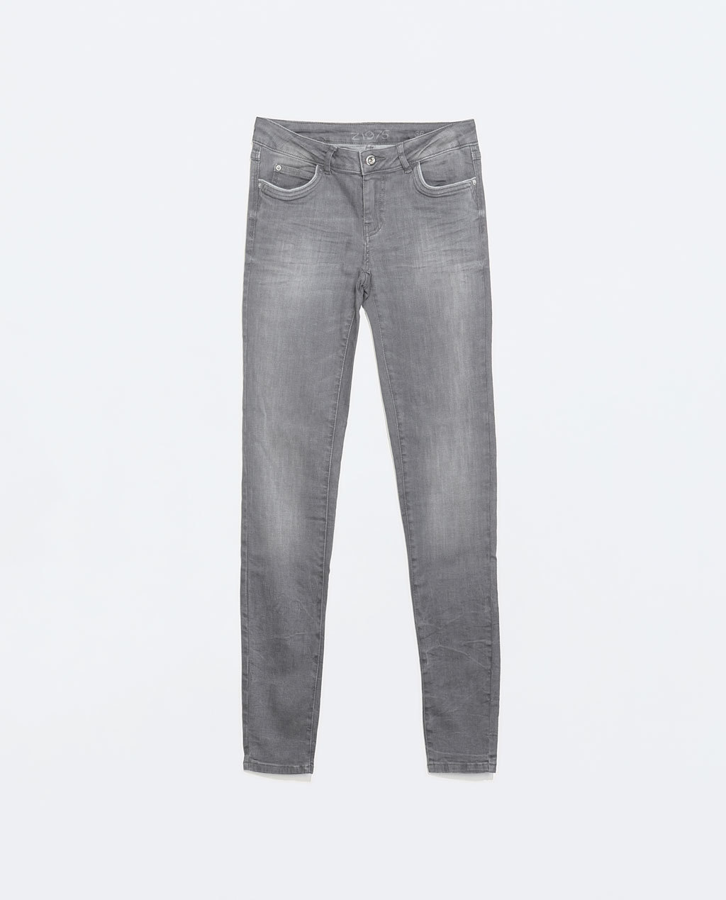 Medium Rise Jeans - style: skinny leg; pattern: plain; pocket detail: traditional 5 pocket; waist: mid/regular rise; predominant colour: mid grey; occasions: casual; length: ankle length; fibres: cotton - stretch; jeans detail: whiskering, shading down centre of thigh; texture group: denim; pattern type: fabric; season: a/w 2014