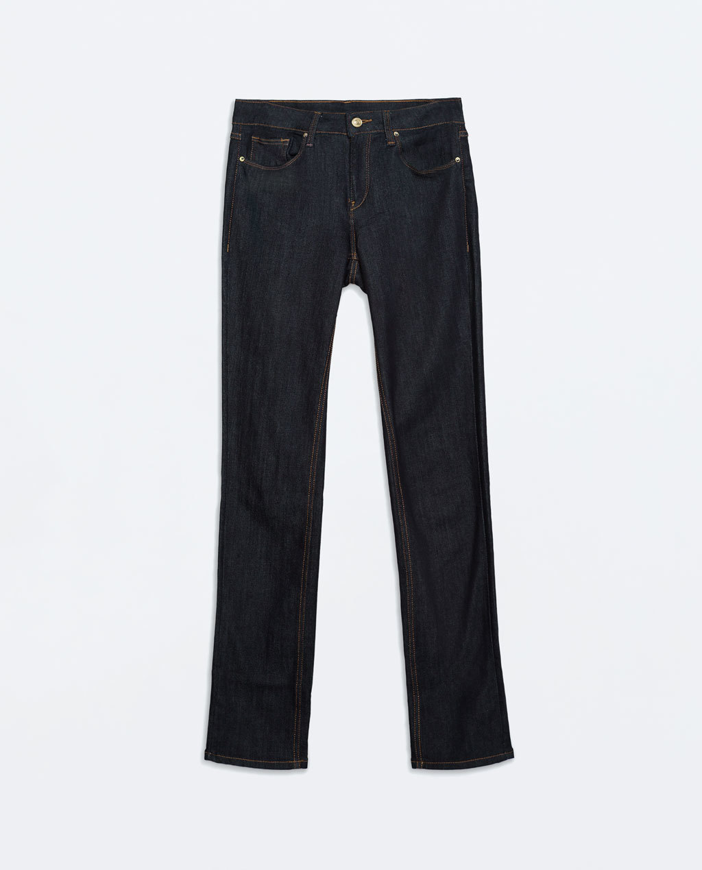 Straight Jeans With Washed Finish - style: straight leg; length: standard; pattern: plain; pocket detail: traditional 5 pocket; waist: mid/regular rise; predominant colour: navy; occasions: casual, creative work; fibres: cotton - stretch; jeans detail: dark wash; texture group: denim; pattern type: fabric; season: a/w 2014