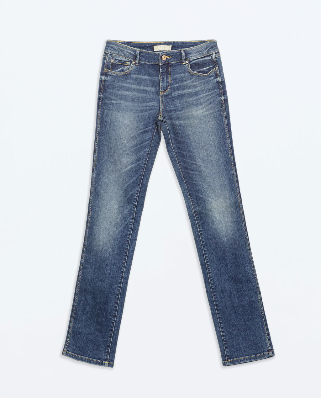 Medium Rise Straight Fit Jeans - style: straight leg; length: standard; pattern: plain; pocket detail: traditional 5 pocket; waist: mid/regular rise; predominant colour: denim; occasions: casual; fibres: cotton - stretch; jeans detail: whiskering, shading down centre of thigh; texture group: denim; pattern type: fabric; season: a/w 2014