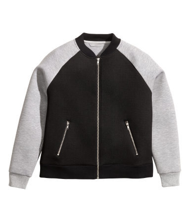 + Scuba Jacket - collar: round collar/collarless; style: baseball; secondary colour: light grey; predominant colour: black; occasions: casual; length: standard; fit: straight cut (boxy); fibres: polyester/polyamide - stretch; sleeve length: long sleeve; sleeve style: standard; collar break: high; pattern type: fabric; pattern size: standard; pattern: colourblock; texture group: other - light to midweight; trends: outerwear chic; season: a/w 2014