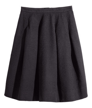 + Crinkled Skirt - length: below the knee; pattern: plain; style: full/prom skirt; fit: loose/voluminous; waist: mid/regular rise; predominant colour: black; occasions: evening, work, creative work; fibres: cotton - mix; hip detail: structured pleats at hip; waist detail: narrow waistband; pattern type: fabric; texture group: woven light midweight; season: a/w 2014