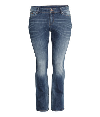 + Boot Cut Low Jeans - style: bootcut; length: standard; pattern: plain; waist: low rise; pocket detail: traditional 5 pocket; predominant colour: denim; occasions: casual; fibres: cotton - stretch; jeans detail: whiskering, shading down centre of thigh, washed/faded; texture group: denim; pattern type: fabric; season: a/w 2014