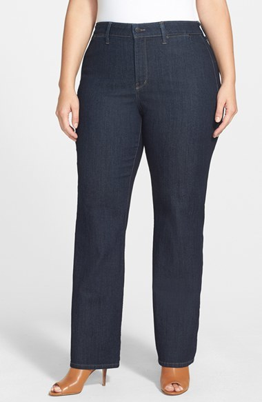 'isabella' Stretch Trouser Jeans (Dark Enzyme) (Plus Size) - style: straight leg; length: standard; pattern: plain; pocket detail: large back pockets; waist: mid/regular rise; predominant colour: navy; occasions: casual, evening, creative work; fibres: cotton - mix; jeans detail: dark wash; texture group: denim; pattern type: fabric; season: a/w 2014
