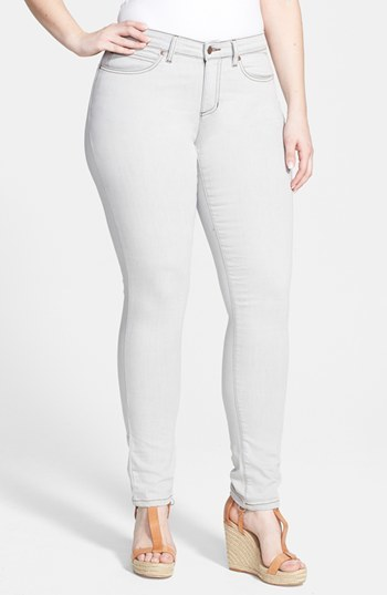 Skinny Jeans (Plus Size) - style: skinny leg; length: standard; pattern: plain; pocket detail: traditional 5 pocket; waist: mid/regular rise; predominant colour: stone; occasions: casual; fibres: cotton - mix; jeans detail: washed/faded; texture group: denim; pattern type: fabric; season: a/w 2014