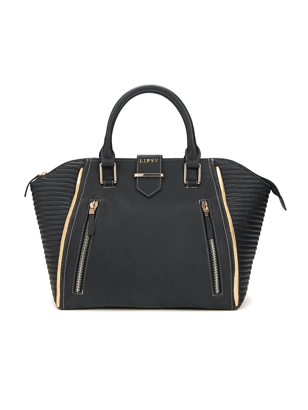 Tote Bag, Black - secondary colour: gold; predominant colour: black; occasions: casual, work, creative work; style: tote; length: handle; size: standard; material: faux leather; embellishment: quilted; pattern: plain; finish: plain; season: a/w 2014