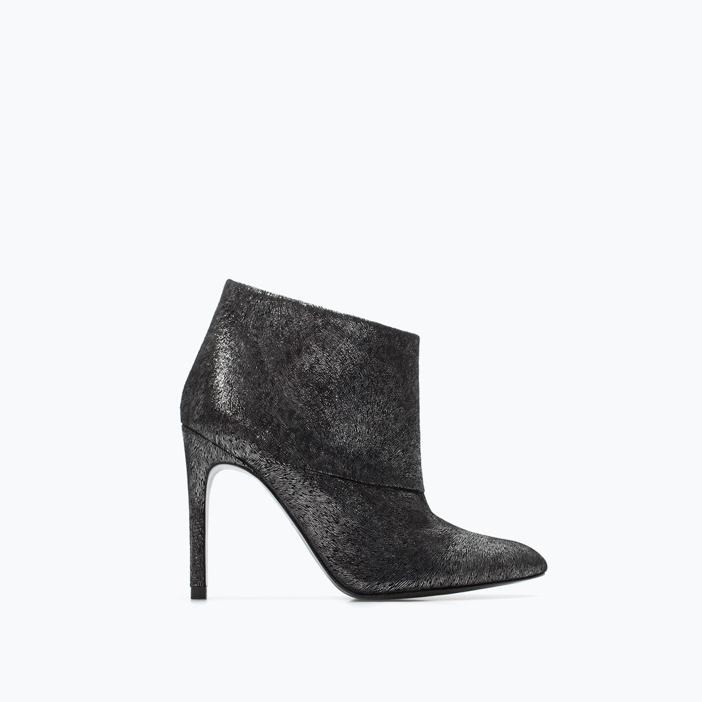 High Heel Leather Ankle Boot - predominant colour: mid grey; secondary colour: black; material: leather; heel height: high; embellishment: glitter; heel: banana; toe: pointed toe; boot length: ankle boot; style: standard; finish: plain; pattern: plain; occasions: creative work; season: a/w 2014