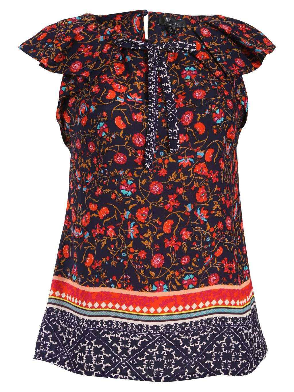 Sleeveless Floral Top, Navy - neckline: round neck; sleeve style: capped; bust detail: added detail/embellishment at bust; secondary colour: true red; predominant colour: navy; occasions: casual; length: standard; style: top; fibres: polyester/polyamide - 100%; fit: straight cut; sleeve length: short sleeve; pattern type: fabric; pattern: patterned/print; texture group: other - light to midweight; trends: artesanal details; season: a/w 2014; pattern size: big & busy (top)