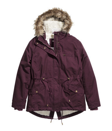 + Parka With Pile Lining - pattern: plain; length: below the bottom; collar: funnel; style: parka; back detail: hood; predominant colour: aubergine; secondary colour: taupe; occasions: casual, activity; fit: straight cut (boxy); fibres: cotton - 100%; waist detail: belted waist/tie at waist/drawstring; sleeve length: long sleeve; sleeve style: standard; texture group: technical outdoor fabrics; collar break: high; pattern type: fabric; embellishment: fur; season: a/w 2014; embellishment location: neck