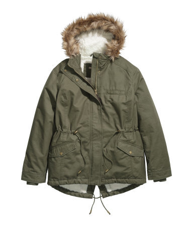 + Parka With Pile Lining - pattern: plain; length: below the bottom; collar: funnel; style: parka; back detail: hood; predominant colour: khaki; secondary colour: taupe; occasions: casual, creative work; fit: straight cut (boxy); fibres: cotton - 100%; waist detail: belted waist/tie at waist/drawstring; sleeve length: long sleeve; sleeve style: standard; texture group: technical outdoor fabrics; collar break: high; pattern type: fabric; embellishment: fur; trends: outerwear chic, faux fur; season: a/w 2014