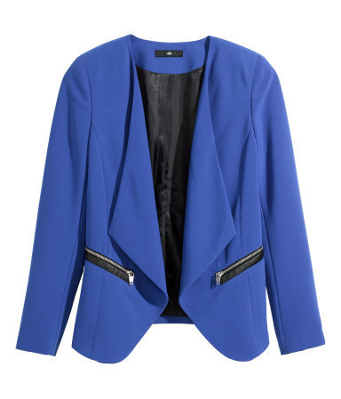 Draped Jacket - pattern: plain; style: single breasted blazer; collar: shawl/waterfall; predominant colour: diva blue; occasions: evening, work, creative work; length: standard; fit: tailored/fitted; fibres: polyester/polyamide - stretch; sleeve length: long sleeve; sleeve style: standard; collar break: low/open; pattern type: fabric; texture group: woven light midweight; season: a/w 2014