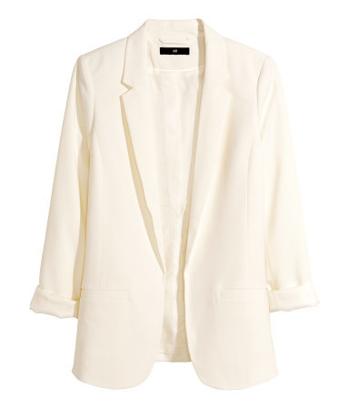 Tailored Jacket - pattern: plain; style: single breasted blazer; length: below the bottom; collar: standard lapel/rever collar; predominant colour: ivory/cream; occasions: evening, work, occasion, creative work; fit: straight cut (boxy); fibres: polyester/polyamide - stretch; sleeve length: 3/4 length; sleeve style: standard; collar break: low/open; pattern type: fabric; texture group: other - light to midweight; season: a/w 2014