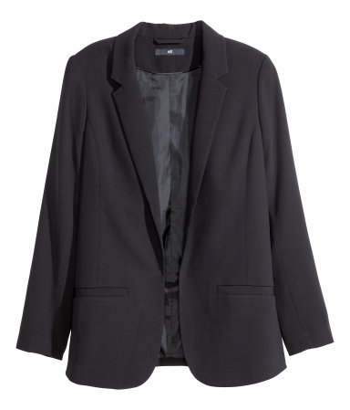 Tailored Jacket - pattern: plain; style: single breasted blazer; length: below the bottom; collar: standard lapel/rever collar; predominant colour: black; occasions: evening, work; fit: tailored/fitted; fibres: polyester/polyamide - stretch; sleeve length: long sleeve; sleeve style: standard; collar break: low/open; pattern type: fabric; texture group: other - light to midweight; season: a/w 2014
