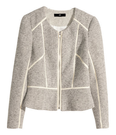 Short Jacket - pattern: plain; style: single breasted blazer; collar: round collar/collarless; predominant colour: light grey; occasions: casual, creative work; length: standard; fit: tailored/fitted; fibres: cotton - mix; sleeve length: long sleeve; sleeve style: standard; collar break: high; pattern type: fabric; texture group: woven light midweight; season: a/w 2014