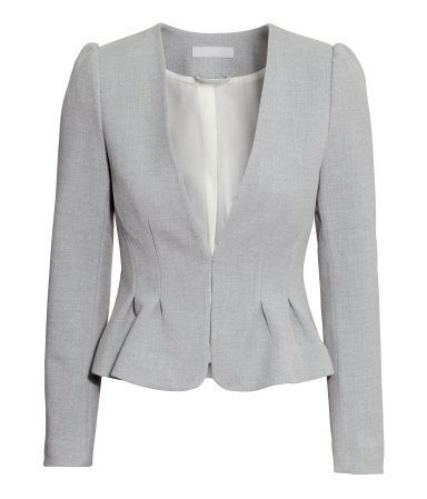 Figure Fit Jacket - pattern: plain; style: single breasted blazer; collar: round collar/collarless; predominant colour: light grey; occasions: work, creative work; length: standard; fit: tailored/fitted; fibres: polyester/polyamide - mix; waist detail: peplum detail at waist; sleeve length: long sleeve; sleeve style: standard; collar break: low/open; pattern type: fabric; texture group: woven light midweight; season: a/w 2014