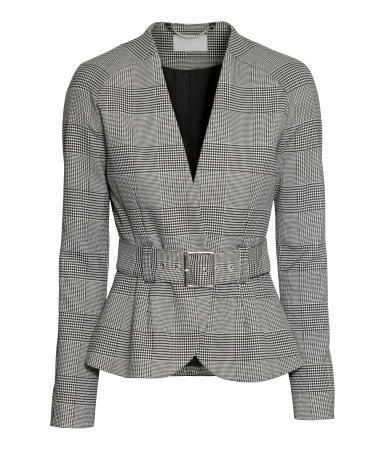 Blazer - pattern: checked/gingham; style: single breasted blazer; collar: round collar/collarless; secondary colour: mid grey; predominant colour: light grey; occasions: work, creative work; length: standard; fit: tailored/fitted; fibres: polyester/polyamide - mix; waist detail: belted waist/tie at waist/drawstring; sleeve length: long sleeve; sleeve style: standard; collar break: medium; pattern type: fabric; texture group: woven light midweight; season: a/w 2014; pattern size: big & busy (top)