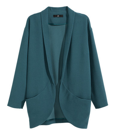 Wide Jacket - pattern: plain; collar: shawl/waterfall; fit: loose; length: below the bottom; predominant colour: teal; occasions: evening, work, creative work; fibres: polyester/polyamide - 100%; sleeve length: long sleeve; sleeve style: standard; collar break: low/open; pattern type: fabric; texture group: woven light midweight; style: fluid/kimono; season: a/w 2014