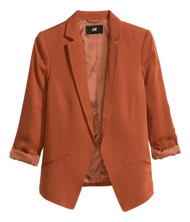 Figure Fit Jacket - pattern: plain; style: single breasted blazer; collar: standard lapel/rever collar; predominant colour: terracotta; occasions: casual, evening, creative work; length: standard; fit: tailored/fitted; fibres: viscose/rayon - 100%; sleeve length: 3/4 length; sleeve style: standard; collar break: low/open; pattern type: fabric; texture group: woven light midweight; trends: zesty shades, outerwear chic; season: a/w 2014