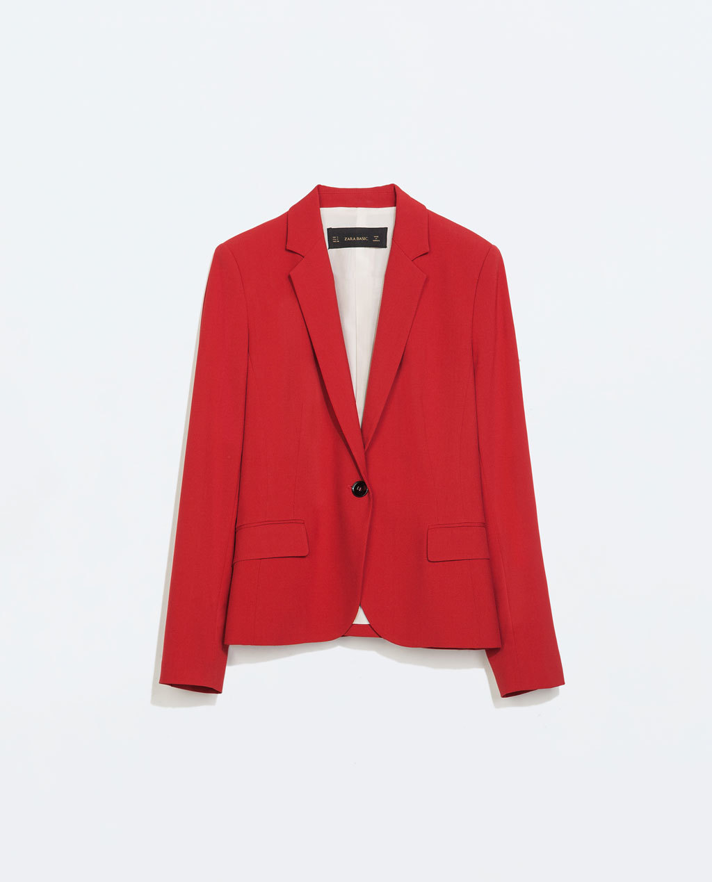 Single Button Blazer - pattern: plain; style: single breasted blazer; length: below the bottom; collar: standard lapel/rever collar; predominant colour: true red; occasions: casual, evening, creative work; fit: tailored/fitted; fibres: polyester/polyamide - mix; sleeve length: long sleeve; sleeve style: standard; collar break: medium; texture group: woven light midweight; trends: zesty shades, outerwear chic; season: a/w 2014