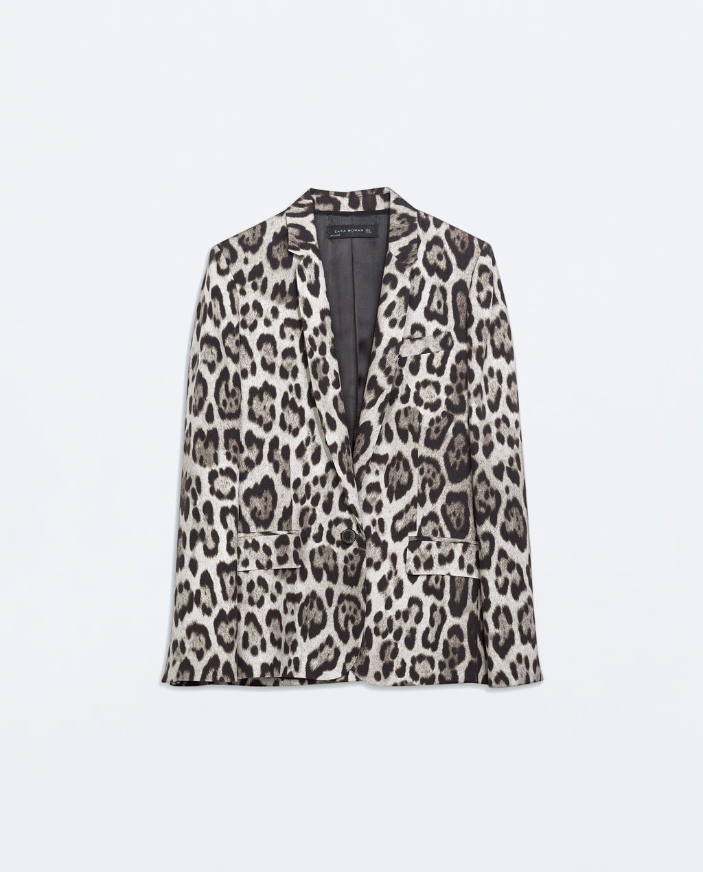 Straight Cut Leopard Print Blazer - style: single breasted blazer; length: below the bottom; collar: standard lapel/rever collar; secondary colour: ivory/cream; predominant colour: black; occasions: casual, evening, creative work; fit: tailored/fitted; fibres: viscose/rayon - 100%; hip detail: subtle/flattering hip detail; sleeve length: long sleeve; sleeve style: standard; collar break: medium; pattern type: fabric; pattern: animal print; texture group: woven light midweight; trends: outerwear chic; season: a/w 2014