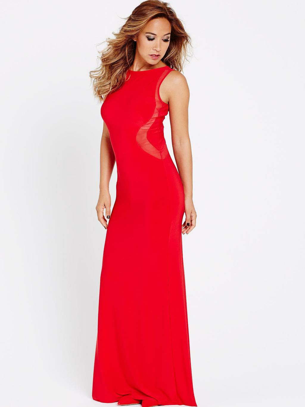 Illusion Maxi Dress, Red - neckline: round neck; pattern: plain; sleeve style: sleeveless; style: maxi dress; predominant colour: true red; occasions: evening, occasion; length: floor length; fit: body skimming; sleeve length: sleeveless; pattern type: fabric; texture group: jersey - stretchy/drapey; trends: zesty shades; season: a/w 2014
