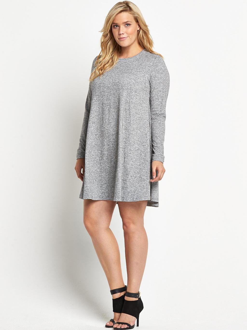 Grey Marl Swing Dress (Available In Sizes 16 28), Grey - style: jumper dress; neckline: round neck; fit: loose; predominant colour: mid grey; occasions: casual, evening, creative work; length: just above the knee; fibres: polyester/polyamide - mix; sleeve length: long sleeve; sleeve style: standard; texture group: jersey - stretchy/drapey; pattern: marl; season: a/w 2014